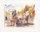 8.5x11 original watercolor of dogs by lake