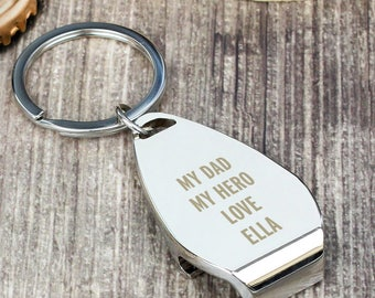 Personalised Any Message Bottle Opener Keyring, Father's Day, Birthdays, Christmas