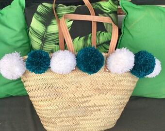 Bag / Beach basket tassels customizable