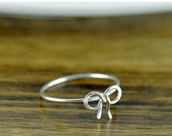 10% off SALE sterling silver tiny bow ring, bow tie ring, tie the knot ring, sterling silver ring, stacking rings, statement rings, gift for