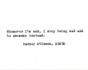 Barney Stinson HIMYM hand typed vintage typewriter quote