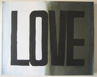 Love Painting # 179 - Black and White, Dark Green, Blue 16x20 - Original Small Abstract Painting