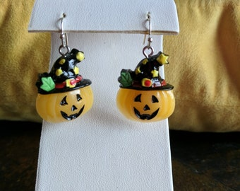Halloween pumpking face dangle earrings