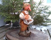 OOAK Elf - Gardener Elf - Troll - OOAK - Goblin - Elf - Handmade - Fairy - Collectible - Primitive - Fantasy - Art Doll - Whimsical - Faap