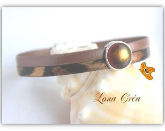Chocolate leather strap and leopard, from round silver plated Zamak, zamak bracelet, iridescent Brown cabochon