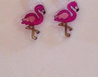 Handmade flamingo earrings