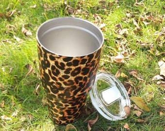 Cheetah Print Unmarked Tumbler with Spill Proof Lid
