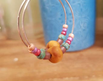 Hoop earrings turquoise and pink