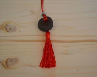 Red tassel ceramic necklace