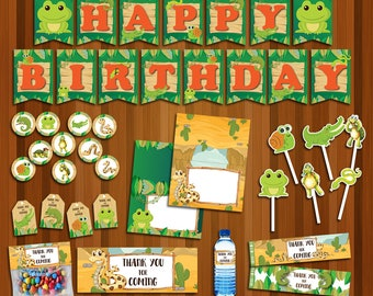 Reptile party package, Reptile Birthday, Reptile banner, Reptile bag, Reptile tag, Reptile food, Reptile water |REP_FULL