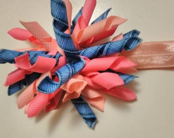 korker bows and headband, baby hair bows, toddler hair bows, girls hair tie, party favors, solid korker bow, denim hair bow