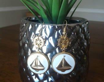 Lightweight Gold & White Nautical Dangle Earrings, Sailboat