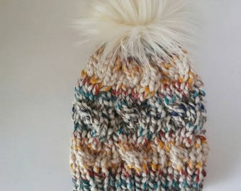 Rainbow fitted cable hat, fitted cable beanie with faux fur pom, faux fur pom beanie, rainbow hat, braided hat, hudson bay winter beanie,
