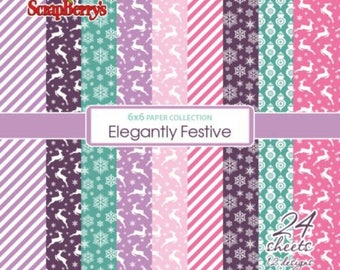 24 papers 15.2 x 15.2 cm SCRAPBERRY's ELEGANTLY FESTIVE