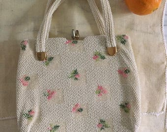 1960s Lumured White Beaded Purse with Pink Flowers / Corde Beads Floral Handbag