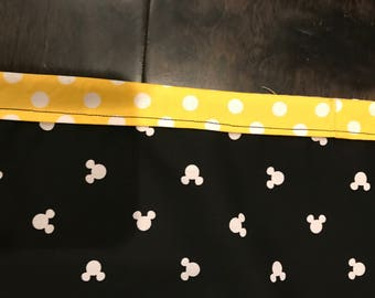 Mickey Mouse Disney Black and white table runner edged in white and yellow polka dot fabric(free shipping US)