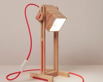 Wood lamp/Red Desk lamp/ Table lamp/  Red Lamp/Gift