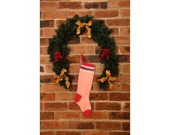 Knitted Christmas Stocking - Christmas Stocking - Holiday Stocking - Christmas Decoration - Christmas Decor - Girls Christmas Stocking