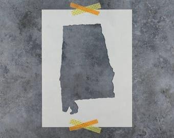 Alabama State Stencil - Hand Drawn Reusable Mylar Stencil Template