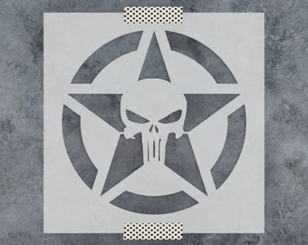 Punisher Skull Star Stencil - Reusable Craft Stencils of the Punisher Skull in a Star - Better than Punisher Decals and Punisher Stickers!