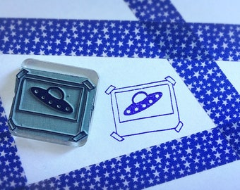 UFO Rubber Stamp ~ spaceship stamp, out of this world, alien, spaced out, flying saucer, scrapbooking geek, alien abduction, polaroid, space