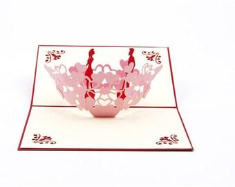3D Pop Up Greeting Card Anniversary Birthday Wedding Gift Craft (Loving Couple)