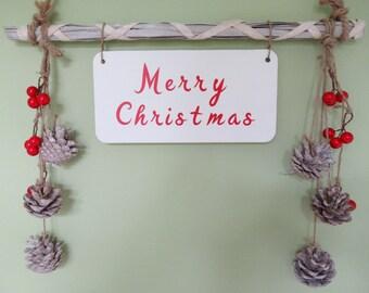 Christmas Decoration - Rustic Christmas Decor - Merry Christmas Sign - Christmas At The Sign - Merry Christmas Wood Sign - Christmas Art