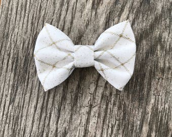 Christmas white and gold sparkly bow- sparkly hair bow- ivory headband - christmas headband