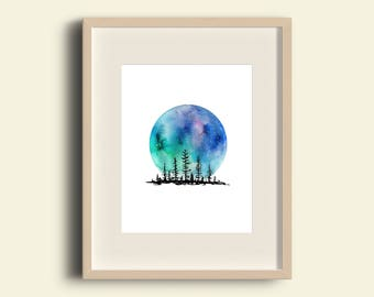 watercolor mountain, watercolor moon, forest print, watercolor forest, moon print, forest print, mountain print, forest watercolor art print