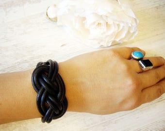 Tribal Bracelet Knitted Bracelet Leather bracelet Black Leather bracelet Rocker bracelet Cool bracelet Summer bracelet Boho Bracelet