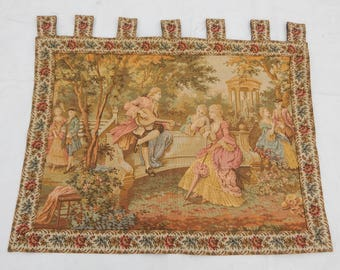 Vintage French Beautiful Singing and Music Tapestry (97x73cm)