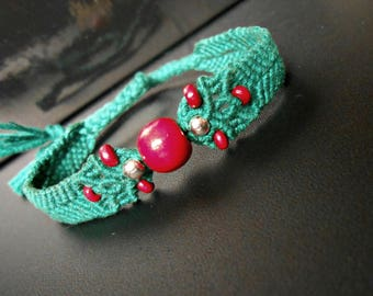"""""""Bohemian"""" strap to tie, red and green Peacock woven macrame with beads"""
