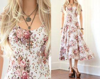 Floral Dress 90s Grunge Dress Floral Maxi Dress Boho Dress 90s Dress Floral Dress Vintage 90s Clothing Vintage Floral Maxi Bohemian Dress xs