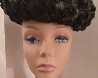 Vintage Black Basket Weave Straw Hat, Mid Century Hat, Fashion Accessories, Boutique