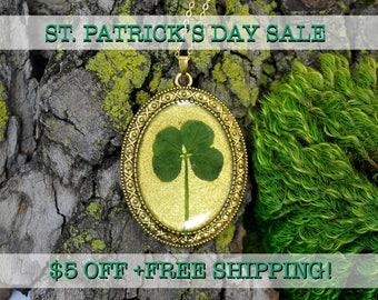 "SALE! Genuine 4 Leaf Clover Cameo Necklace [BC 007] /Gold Tone 18"" Necklace / White Clover / Triforium Repens Clover / Good Luck Charm"