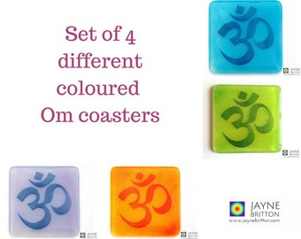 Set of 4 Om coasters, blue, orange, green, purple, handmade fused glass, purple decor, great yoga teacher gift, home gifts, spiritual gift
