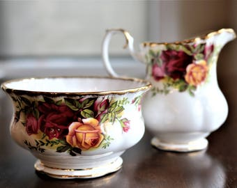 Royal Albert Old Country Roses Sugar Bowl and Cream Pitcher, Old Country Roses, English Bone China, Sugar and Creamer, Vintage Royal Albert