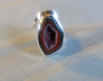 Tobasco Geode with crystals in Sterling Silver Twisted Band