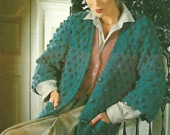 knitting pattern, women's, ladies bobble knit jacket, cardigan, 70's, sizes 32-42 in, pdf, digital download