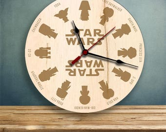 Star Wars clock, Wood Clock, Gifts for Her, Gifts for Him
