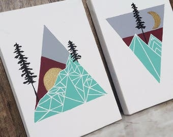 Geometric Nature Original Painting, Mountain Art, Sun Moon Art, Geometric Mountains, Triangle Art, Geometric Painting, Geometric Shapes