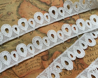Vintage Off-White Solubility Drop Lace Trim 0.90 Inches Wide 1 Yards/ Craft Supplies, WL897