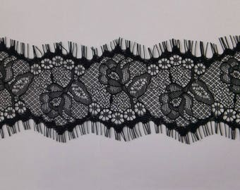 Vintage Black Eyelash Lace Trim 3.14 Inches Wide 3 Yards/ Craft Supplies, WL896