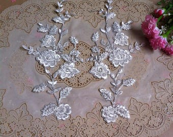1 Pair Bridal Lace Applique DIY Trim Appliques in Beige for Weddings, Sashes, Veils, Headpieces, WL1768
