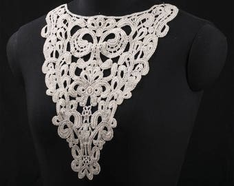 1 PCs white  Embroidered Flower Hollow Lace Collar Appliques DIY Patch, WL539