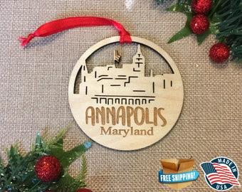 Annapolis Maryland Ornament *** Skyline Christmas Holiday Ornament *** MD