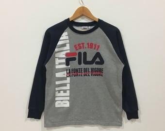 Rare !!! Fila biella italia big logo sweatshirt