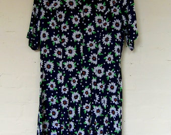 80s/ 90s floral day dress - size 16/18