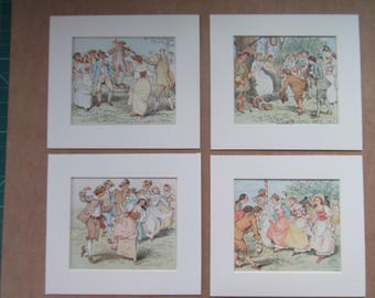 "Randolph Caldecott set of 4 Antique coloured prints dated 1890 in 10""x9"" mounts ready to frame"
