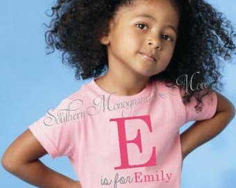 Personalized Youth T-Shirt, Monogram T-Shirt, Youth Monogram T-Shirt, Youth Personalized T-Shirt, Kindergarten T-Shirt, Pre-School T-Shirt